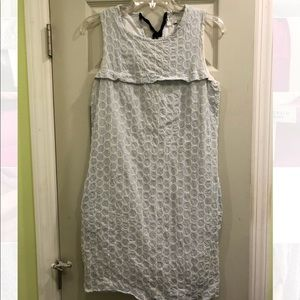 JCREW Seersucker Pocket Dress - Blue and White